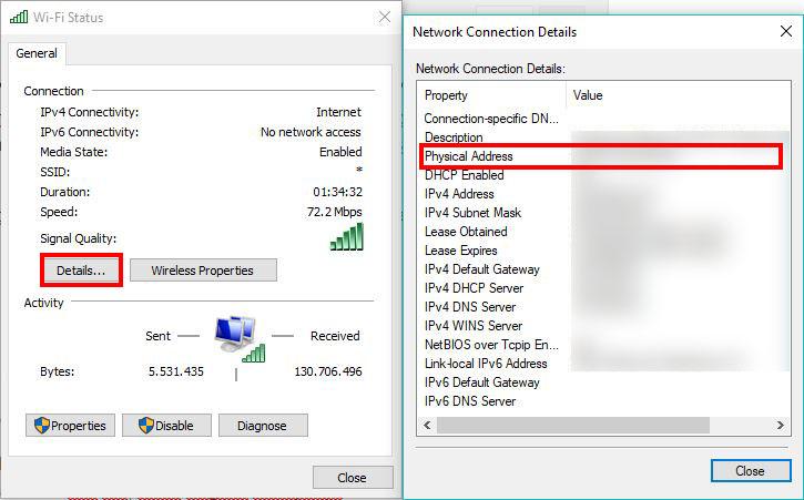 cek mac address melaui control panel